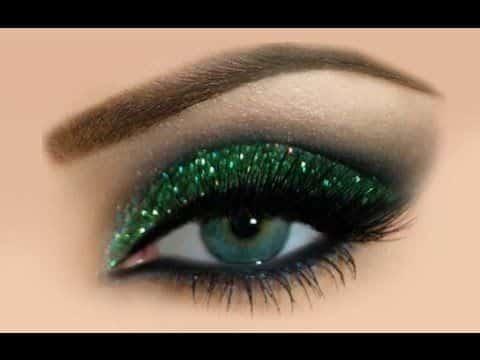 Como fazer Maquiagem com Glitter, Maquiagem verde com preto passo a passo
