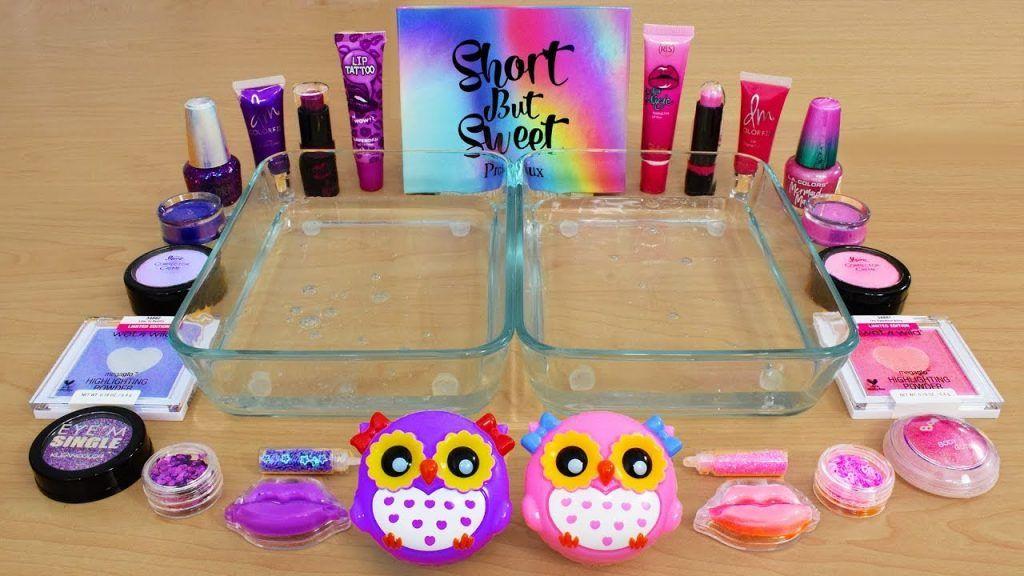 Purple vs Pink - Mixing Makeup Eyeshadow Into Slime! Special Series 114 Satisfying Slime Video
