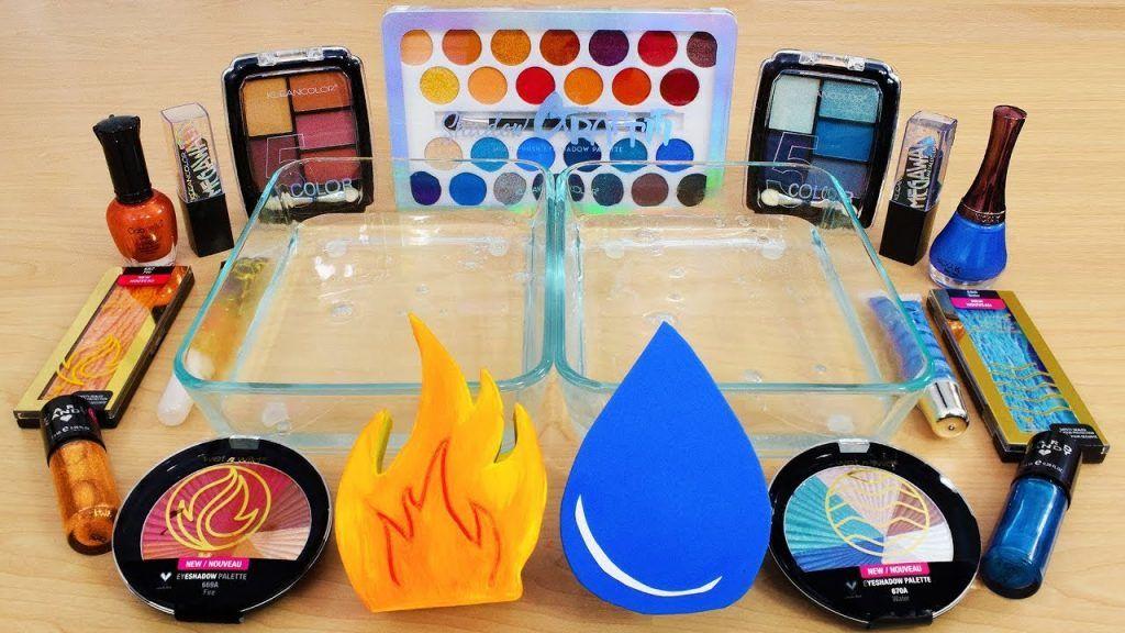 Fire vs Water - Misturando Maquiagem Eyeshadow Em Slime! Série Especial 122 Satisfazendo Slime Video