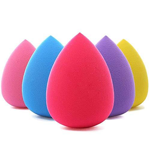 BEAKEY 5 Pcs Esponja De Maquiagem Set Blender Beleza Fundação Esponja De Mistura, Impecável para Líquido, Creme, e Pó, Esponjas De Maquiagem Multi-coloridas