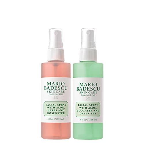 Spray facial de Mario Badescu com água de rosas e spray facial com chá verde Duo, 4 oz.