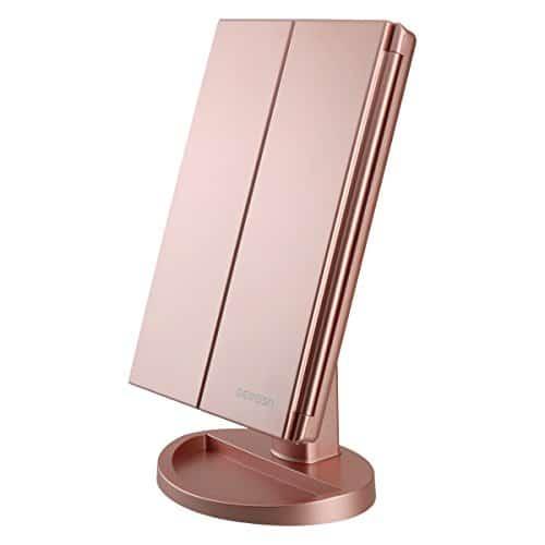 DeWEISN Tri-Fold Espelho de Maquilhagem com Espelho de Maquilhagem com 21 Luzes LED, Espelho de Ampliação 3X / 2X, Interruptor de Sensor de Toque, Espelho de Maquilhagem de Mesa de Dois Tipos de Alimentação, Espelho de Viagem de Viagem (Rosa de Ouro)