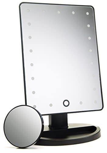 Espelho iluminado natural da composição / espelho de vaidade com escurecimento da tela de toque, espelho destacável da mancha da ampliação 10X, conveniência portátil e espelho cosmético da claridade alta da definição