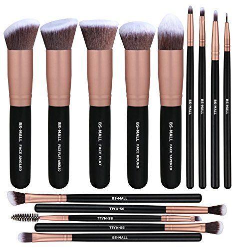 Escovas de maquiagem BS-MALL Premium Synthetic Foundation pó corretivo Sombras de olho Maquiagem 14 Pcs jogo de escova, Rose Golden, 1 Contagem