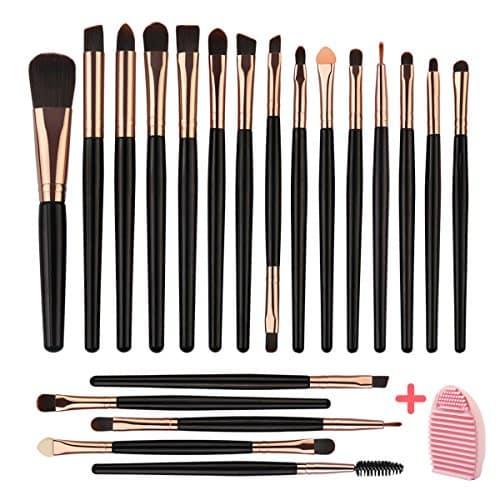 MAGEFY 20 PCs Maquiagem Blending Brush Tool Set, para Fundação Mistura Blush Concealer Sombra, Soft Fiber Cerdas Premium Plástico Handles (Black Golden) com Maquiagem Brush Scrubbing Mat