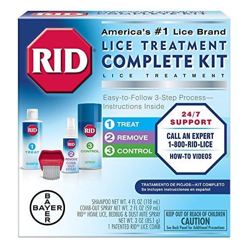 RID Lice Tratamento Kit Completo, Inclui 4 Fluid Ounces RID Shampoo de matar piolhos, 2 onças fluidas piolhos e Egg Comb-Out Spray, piolhos pente e 3 onças RID Home piolhos, Bedbug & Dust Mite Home Spray