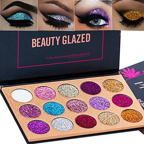 Beleza Glazed 15 Cores Glitter Eyeshadow Palette Shimmer Ultra Pigmentado Maquiagem Sombra de Olho Em Pó de Longa Duração À Prova D 'Água