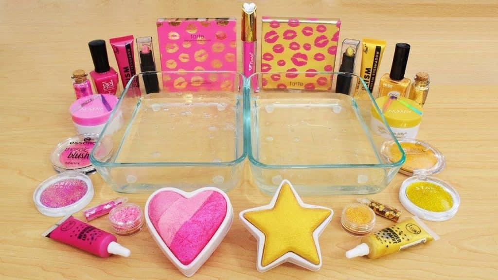 Pink vs Gold - Misturando Maquiagem Eyeshadow Em Slime! Série Especial 121 Satisfazendo Slime Video