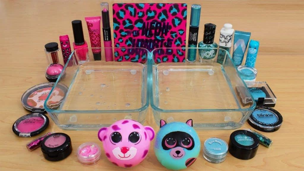 Pink vs Teal - Misturando Maquiagem Eyeshadow Em Slime! Série Especial 149 Satisfazendo o Slime Video