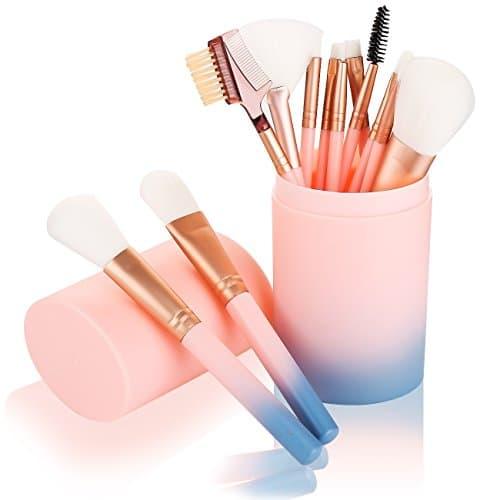 Conjuntos de Escova de maquiagem-12 Pcs Pincéis de Maquiagem para Fundação Sombra Sobrancelha Delineador Em Pó Blush Contorno Em Pó