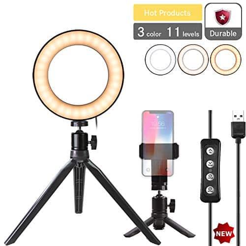 """Natwag 6 """"Selfie anel de luz com Tripé Stand & suporte de telefone celular para vídeo do YouTube e maquiagem, transmissão ao vivo, fotografia de retrato. Mini LED câmera luz com 3 modos de luz e 11 nível de brilho"""