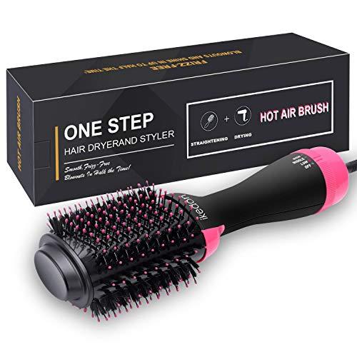 Escova para secador de cabelo, IKEDON Dry, Straighten & Curl Secadores de cabelo One Step com íon negativo para redução de frizz e estática