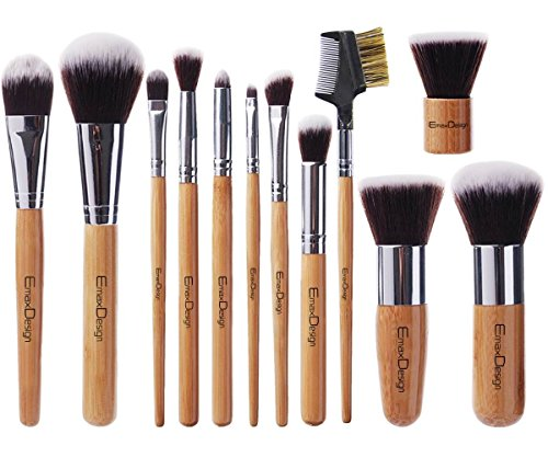 Emaxdesign 12 peças conjunto de pincel de maquiagem alça de bambu profissional fundação kabuki sintético premium blending corretivo face do olho líquido em pó creme cosméticos kit escovas com saco