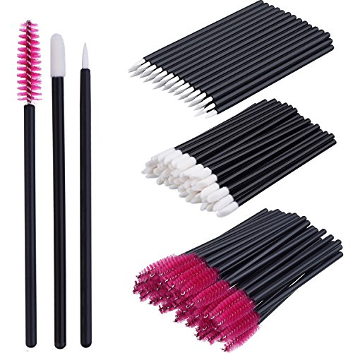 eBoot 150 Peças Descartáveis Lip Brushes Delineador Pincéis Pestana Mascara Brushes Maquiagem Tool Kits (Rose Red)