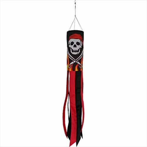 Windsock de pirata em chamas durável de 40 polegadas com caudas pretas e vermelhas