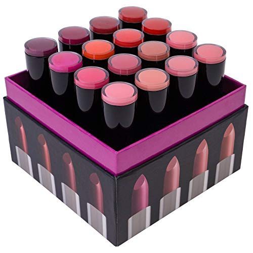 SHANY (Not So) Conjunto de batons Sweet Sixteen Creme - tons suaves e altamente pigmentados para o dia todo - 16 cores variadas