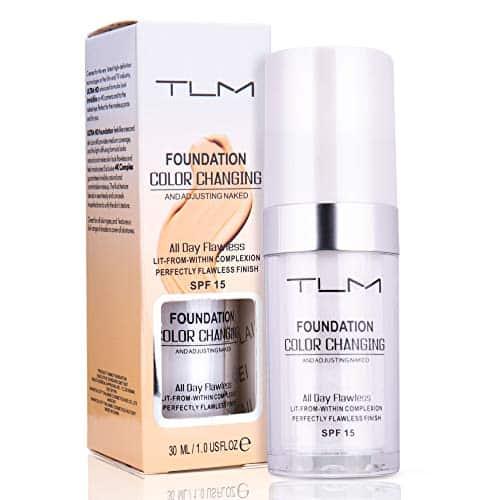 Avashine Color Change Foundation, maquiagem de dia inteiro sem falhas, creme de fundação, 30ml, SPF 15, leve, sem fragrância, com tom de pele quente