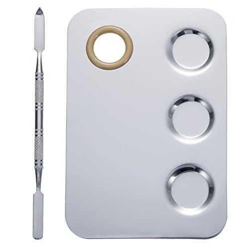 KissDate Paleta de Maquiagem Aço Inoxidável 6x4 polegadas 3-well Nail-art Cosmetic Artist Paleta de Mistura com Espátula Ferramenta para Misturar Base de Prata