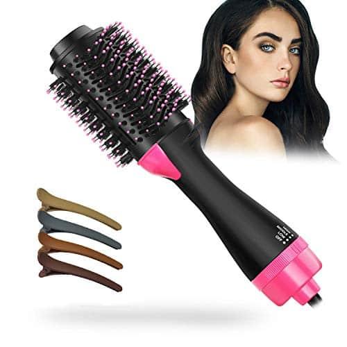 Secador de cabelo de uma etapa e volumizador, Escova de secador de cabelo Escova de modelador de alisador de cabelo de íon negativo multifuncional 2 em 1 Reduza o frizz e a estática para todos os tipos de cabelo, 4pcs grampos de cabelo