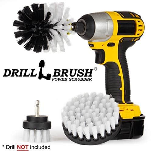 Drillbrush Kit de fixação de ferramenta de limpeza de escova de broca de 3 peças para esfregar / limpar móveis, carpetes, cadeiras, vidro de porta de chuveiro e couro - Kit de limpeza de roda de escova de broca