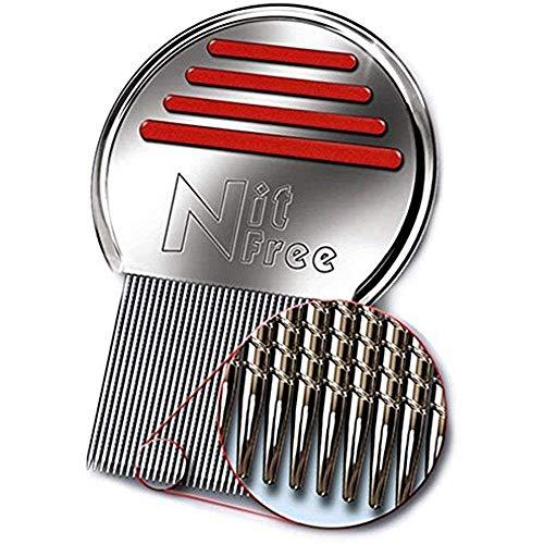 Pente para piolhos Terminator Nit Free, piolho de aço inoxidável profissional e Pente Nit para tratamento de piolhos, remove lêndeas, as cores podem variar