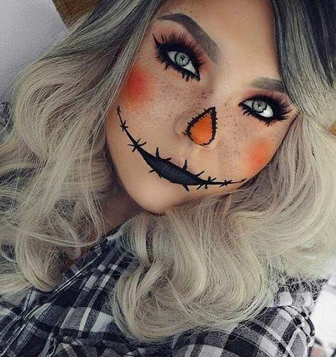 Idéia de maquiagem Halloween bonito espantalho