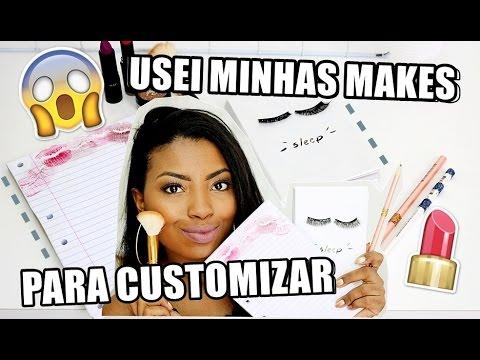 DIY MATERIAL ESCOLAR USANDO MAQUIAGEM por Camila Nunes