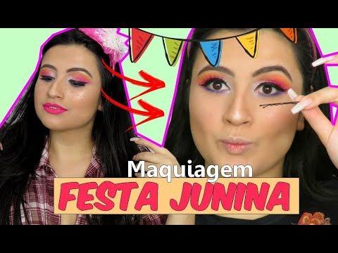 MAQUIAGEM COLORIDA PRA FESTA JUNINA/SÃO JOÃO