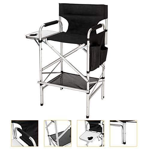 """Mefeir Diretor atualizado Maquiador Cadeira Altura da barra, estrutura de alumínio Suporta 300 libras, portátil dobrável com saco lateral para armazenamento de mesa Preto (33,8 """"L x 19,2"""" L x 45,6 """"H)"""