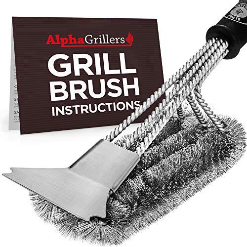 Escova e raspador Alpha Grillers Grill. Melhor limpador de churrasco. Ferramentas perfeitas para todos os tipos de grelha, incluindo Weber. Cerdas de fio de aço inoxidável e alça rígida de 18 polegadas. Acessórios ideais para churrasco