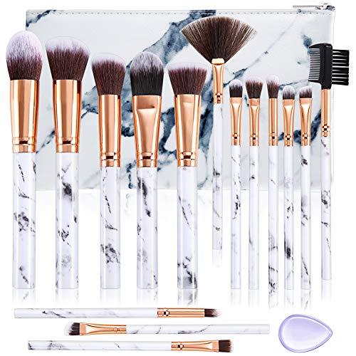 ALLFY Pincéis de maquiagem Conjunto Corretivo em pó sintético premium Mistura de sombras para os olhos Maquiagem de rosto Conjuntos de pincéis 15 Pcs Mármore com saco cosmético Puff de silicone