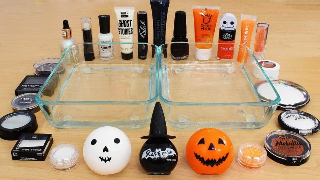 Black vs White vs Orange - Sombra de maquiagem para maquiagem Slime Special Series Satisfying Slime Video