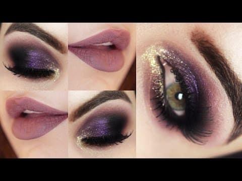 Maquiagem Roxa e Dourada com Produtos Baratinhos - Christmas Makeup Tutorial