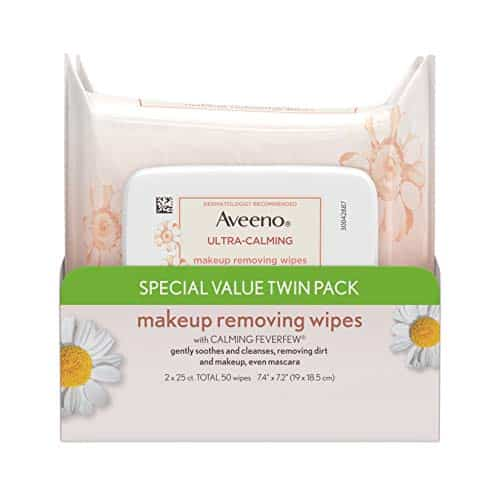 Aveeno Ultra-Calming Cleansing Makeup Free Removendo toalhetes para pele sensível, 25 Count, Twin Pack