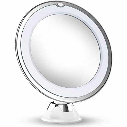 Atualizado 2019 Versão 10X Espelho de maquiagem de aumento com luzes, Ampliação de cosméticos de mão portátil iluminada por LED Iluminar espelhos para banheiro de mesa em casa
