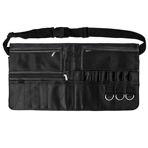Avental de maquiagem - LALATECH Profissional com zíper Maquiador - Cosmético Bolsa de maquiagem portátil com alça de cinto para mulheres, preto