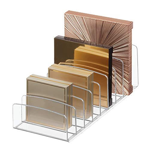 """Organizador de paletas de plástico vertical iDesign Clarity para armazenamento de cosméticos, maquiagem e acessórios em vaidade, bancada ou armário, 9,25 """"x 3,86"""" x 3,20 """", transparente"""