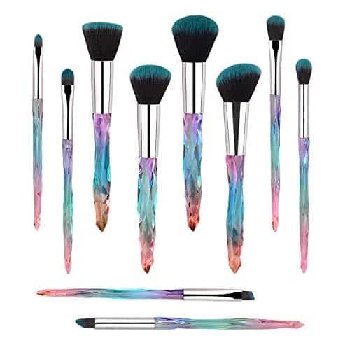 Pincéis de maquiagem, 10PCs Professional Cosmetic Brush Set Especial brilhante fundação Pó facial Sombras Blending Blush Brushes Alça de plástico colorido (azul)