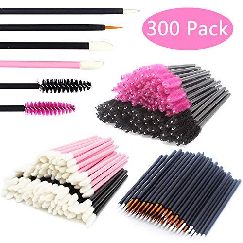 JIULORY Aplicadores de maquiagem descartáveis Varinhas de rímel e aplicadores de batom e pincéis de delineador 300PCS Kits de ferramentas de aplicadores de maquiagem