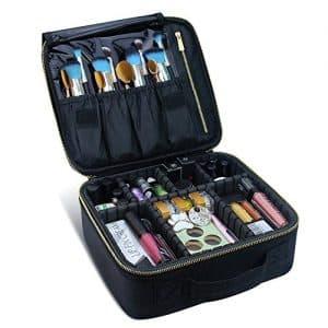 Estojo de maquiagem de viagem, Chomeiu- Caixas de maquiagem organizadoras de cosméticos profissionais para maquiagem com compartimentos Neceser De Maquillaje (Preto-M)
