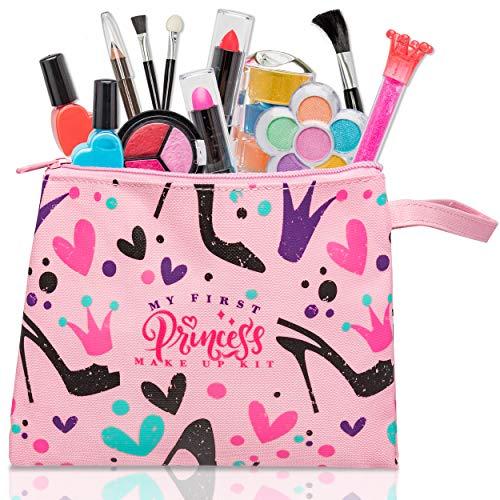 My First Princess Make Up Kit - 12 Pc Kids Makeup Set - Lavável Fingir Maquiagem Para Meninas - Estes brinquedos de maquiagem para meninas incluem tudo o que sua princesa precisa para vestir - Vem com bolsa elegante