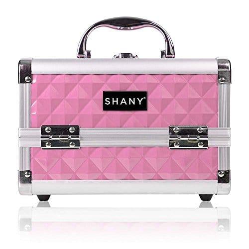 Caso de trem de maquiagem Mini SHANY com espelho - rosa polido, 1 contagem