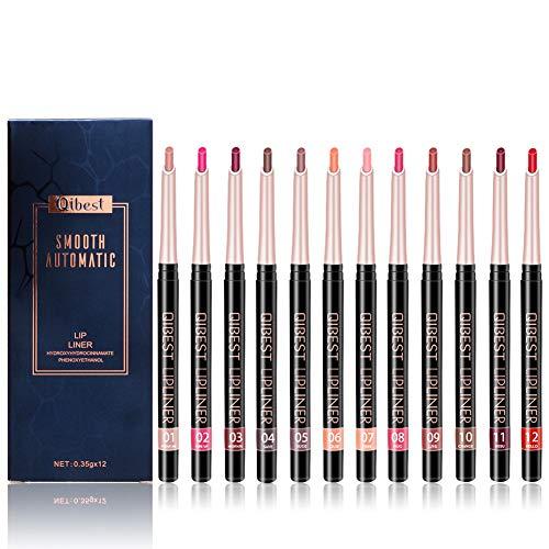 Ownest 12 cores Lip Liner Set, alta pigmentada de longa duração à prova d'água fosco suave e cremoso, perfeito para moldar, forrar ou preencher os lábios compõem delineadores de lábios