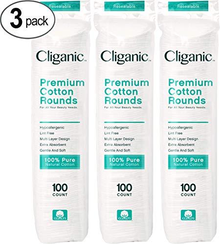 Círculos Cliganic Premium de algodão para o rosto (contagem de 300) | Almofadas para remover maquiagem, hipoalergênico, sem fiapos | 100% Algodão Puro
