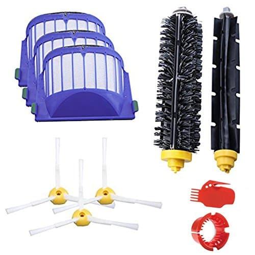 Acessório para iRobot Roomba 600 610 620 630 645 650 655 660 680 Série Substituição do kit de substituição de aspirador de pó Peças iRobot Conjunto Filtro Escova lateral Escova de cerda Ferramenta de limpeza de escova de batedor flexível