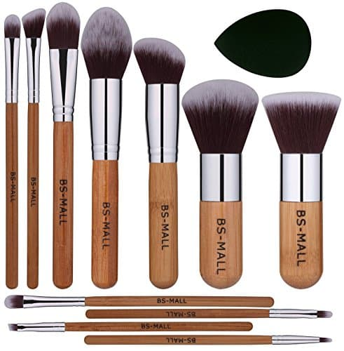 BS-MALL Conjunto de pincéis de maquiagem 11Pcs Bambu Sintético Conjunto de pincéis Kabuki Foundation Powder Blending Concealer Sombras de olhos Blush Cosmetics Brushes with Organizer Bag & Makeup Sponge