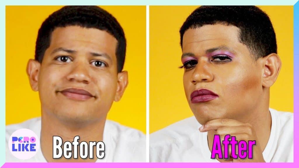 Homens latinos experimentam maquiagem pela primeira vez