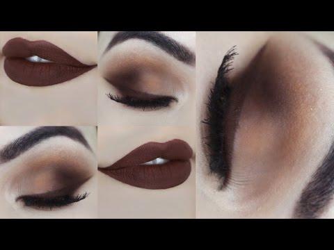 Delineado com BATOM LÍQUIDO ANASTASIA - Tutorial de Maquiagem Marrom Opaca - Brown Makeup Tutorial