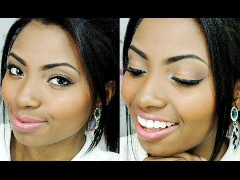 Maquiagem dourada efeito pele iluminada. Por Camila Nunes