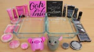 Pink vs Gray - Sombra de maquiagem de maquiagem no Slime ASMR 279 Satisfying Slime Video